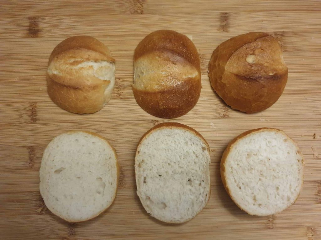 Crumb of bread rolls after baking