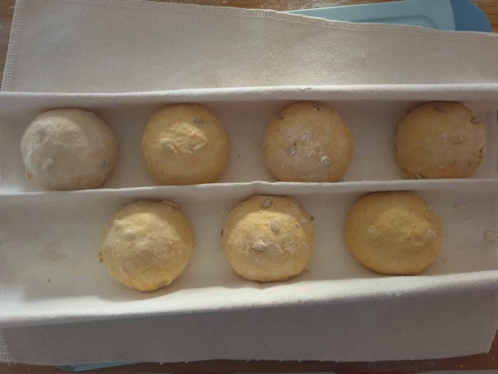 Bread rolls before proofing