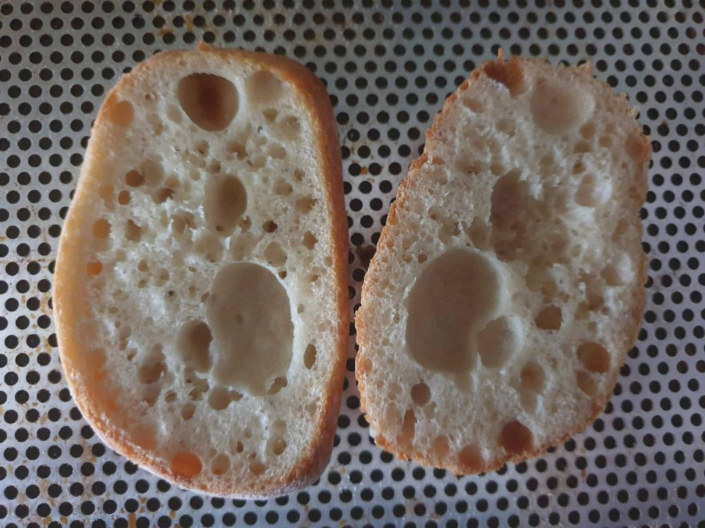 Crumb of the first batch