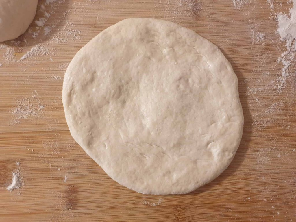 Shaped flatbread ready for proofing
