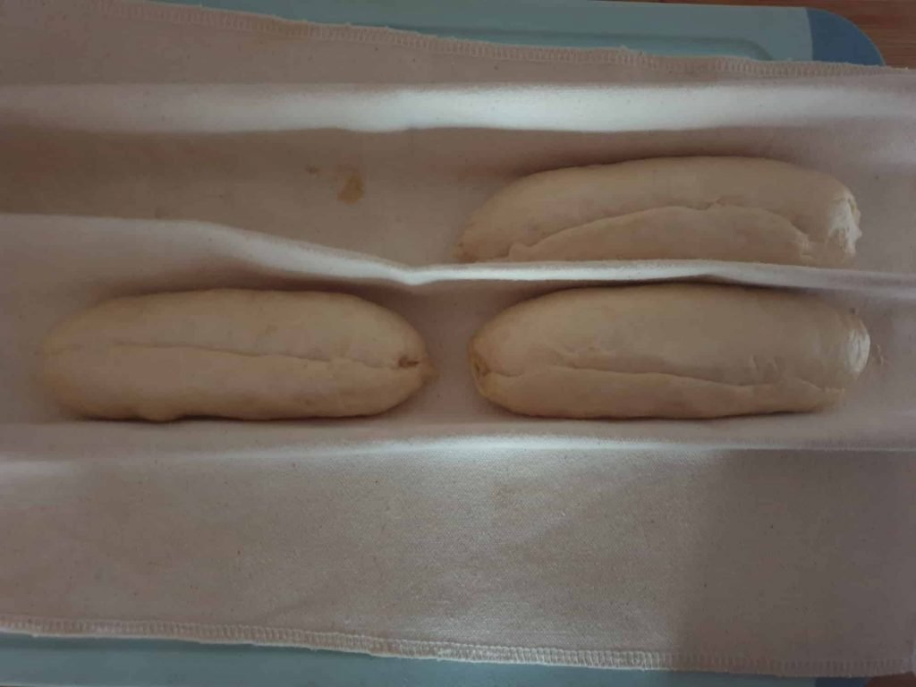 Proofing the bread rolls on a Baker's couche