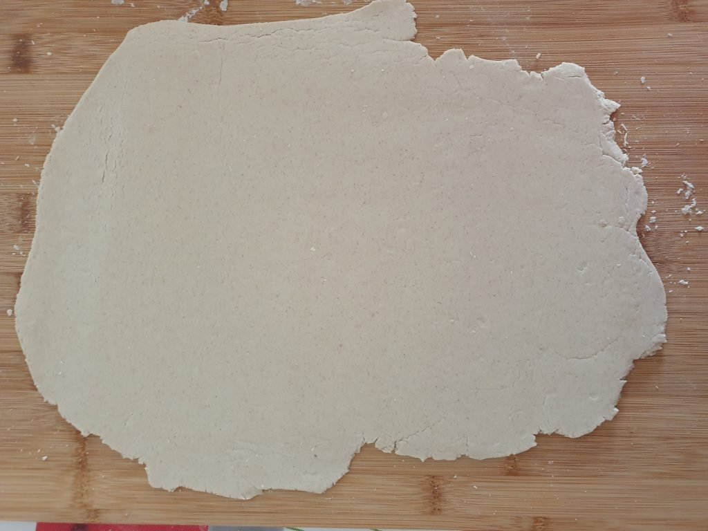 Rolling out the buckwheat dough